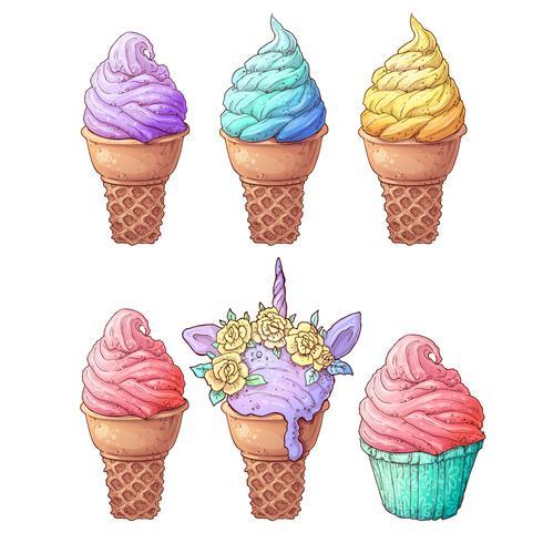 Definir sorvete. Desenho à mão. Ilustração vetorial