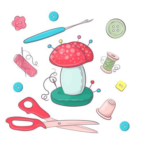 Conjunto de accesorios de costura de lecho de agujas. Dibujo a mano. Ilustración vectorial vector
