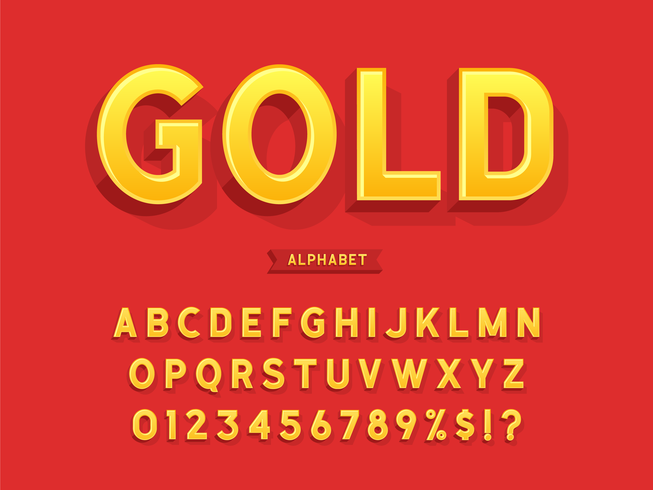 Alfabeto 3D oro grassetto vettore
