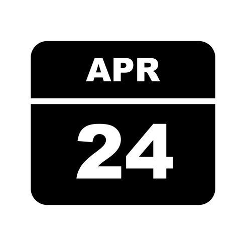 24 de abril Fecha en un calendario de un solo día vector