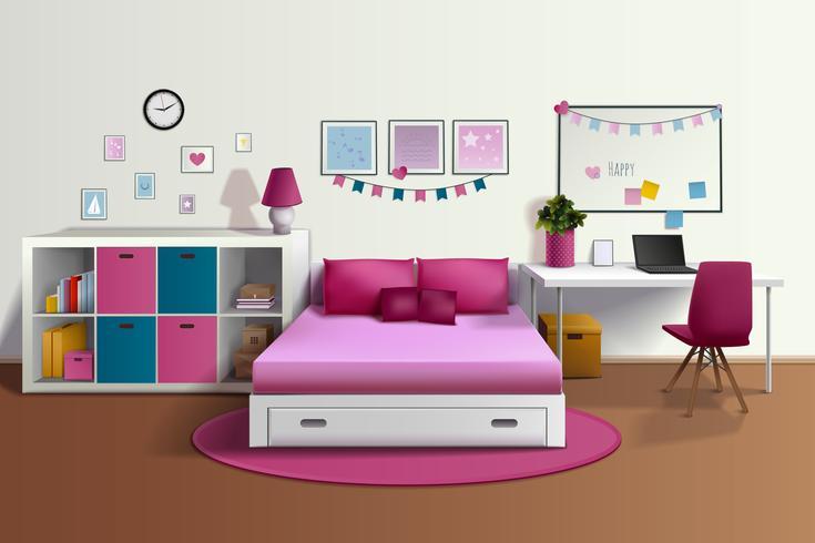 Interior realista de la habitación de la chica vector