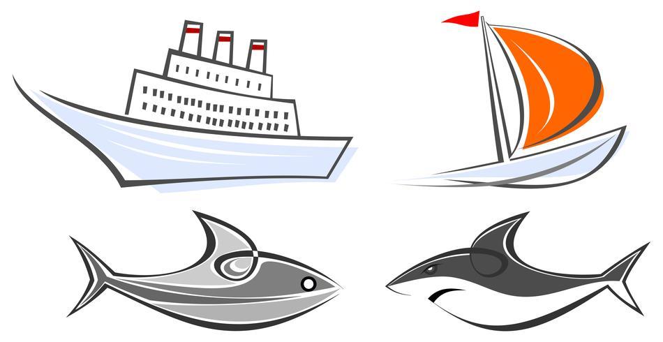 Sats med marin ikoner - havsfodring, yacht, haj och fisk