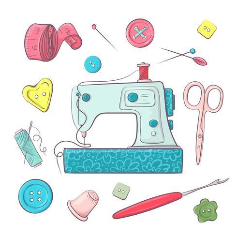 Impostare gli accessori per la cucitura della macchina da cucire. Disegno a mano Illustrazione vettoriale