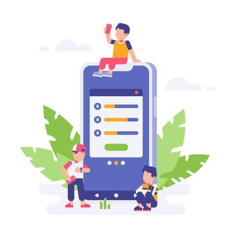 Mensen die wachten op download zijn klaar met een grote smartphone en bladachtergrond. landingspagina vlakke afbeelding