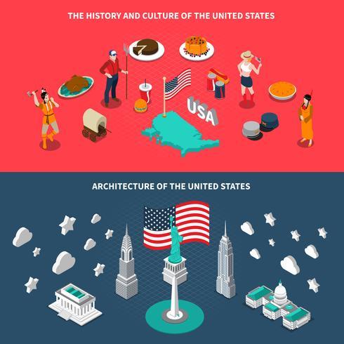 Atracciones Turísticas en USA 2 Banners Isométricos vector
