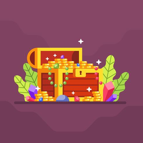 Treasure chest with lot of coin and diamond with leave and crystal gem background. Flat vector Illustration