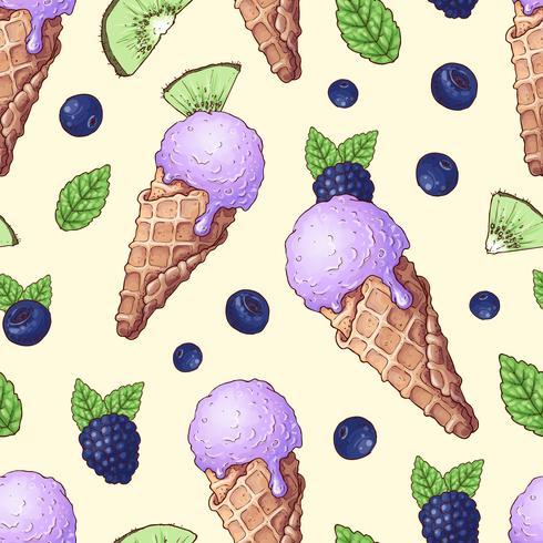 Seamless pattern ice cream wild berries. Vector illustration