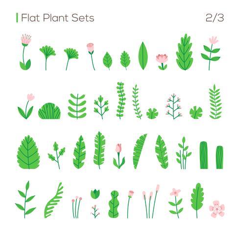 Conjunto de vectores de diferentes hojas y plantas en un estilo plano. Plantas aisladas en el conjunto blanco del fondo.