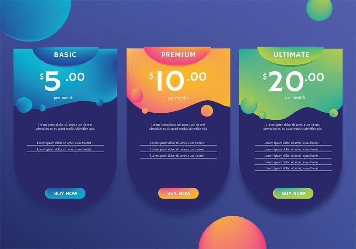 Tabla de precios de diseño vectorial vector
