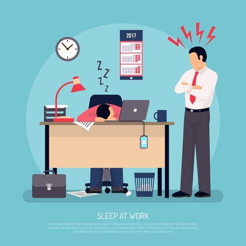 Dormir en el cartel plano de trabajo
