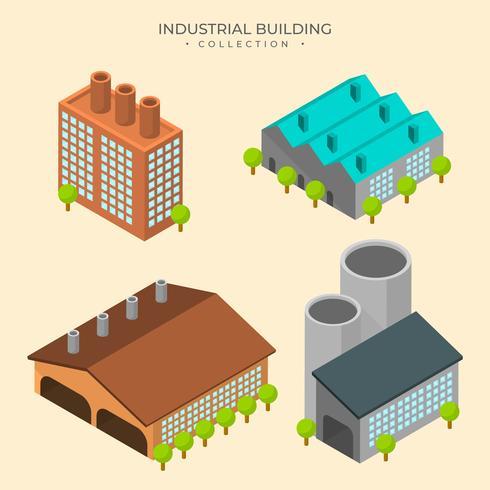 Raccolta isometrica piana di vettore del fabbricato industriale