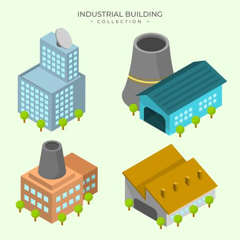 Flat Detail Industrial Building Vector Collection