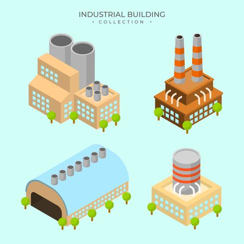 Flat Modern Isometric Industrial Building Vector Collection