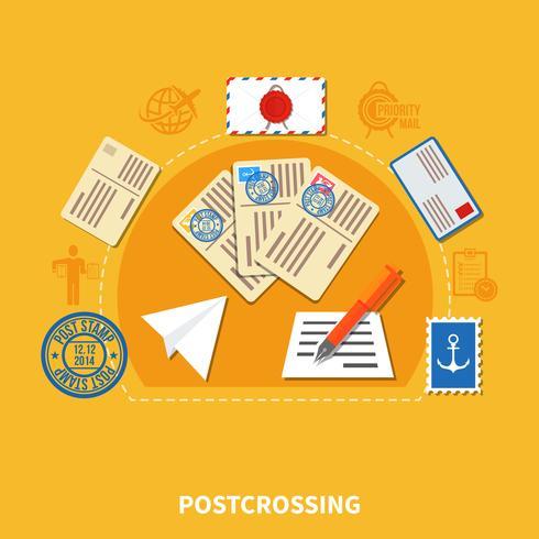 Ilustração de estilo plano Postcrossing