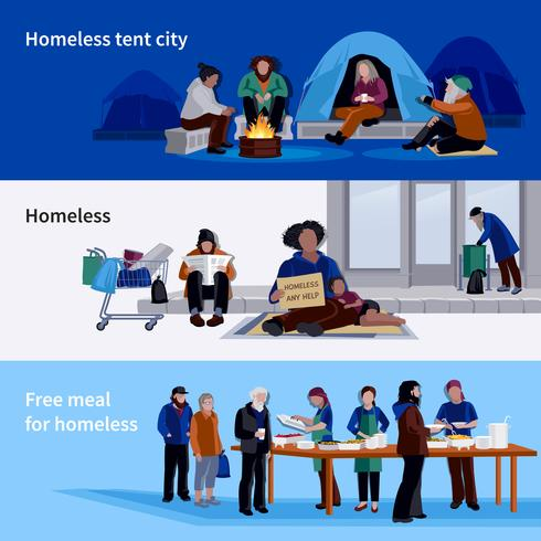 Homeless People Horizontal Banners