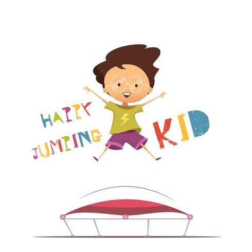 Ilustração em vetor garoto pulando feliz