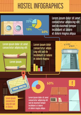Hostel Infographics platte sjabloon
