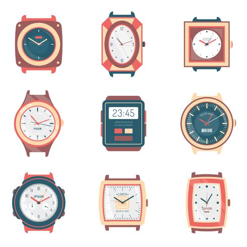 Different Types Watches Flat Icons Collection vector