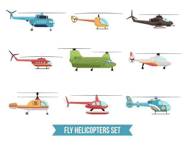 Set di elicotteri volanti vettore