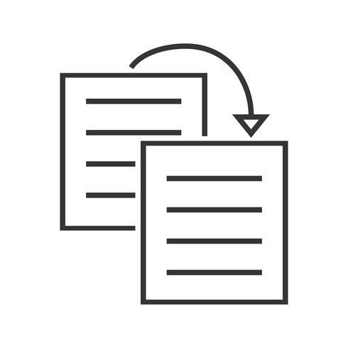 Duplicar contenido icono de línea negra vector