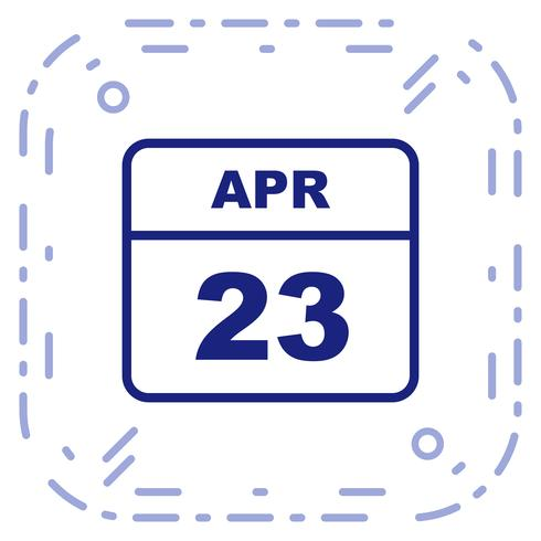 23 de abril, fecha en un calendario de un solo día