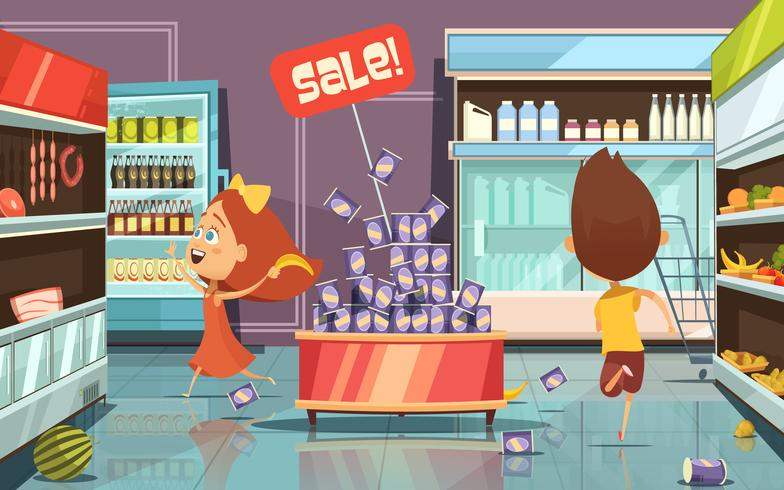 Niños en una tienda de ilustración vector