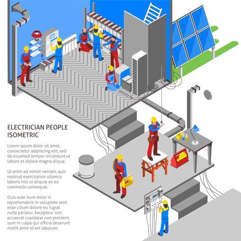 Elettricista Composizione isometrica vettore