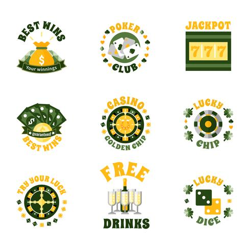 Conjunto de insignias de iconos de casino vector