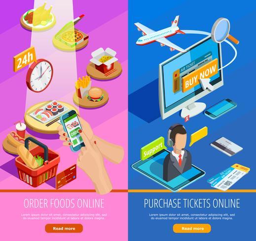 Online Shopping E-handel Isometric Banners vektor