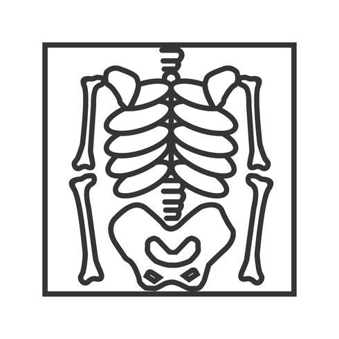 Línea esqueleto negro icono vector