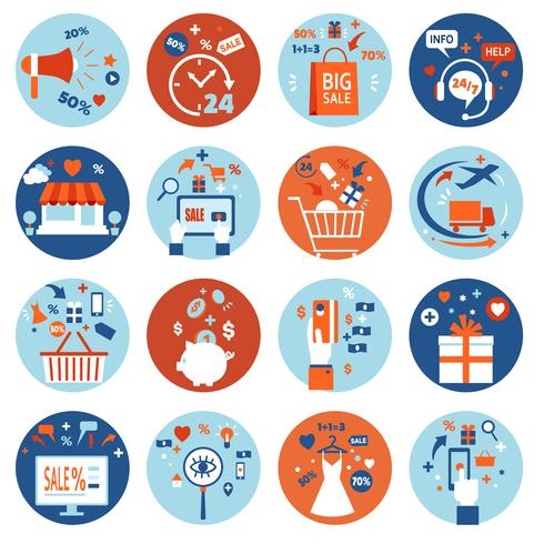 Conjunto de compras en línea de comercio electrónico vector