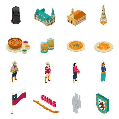 Chile Touristic Attractions Isometric Icons Set