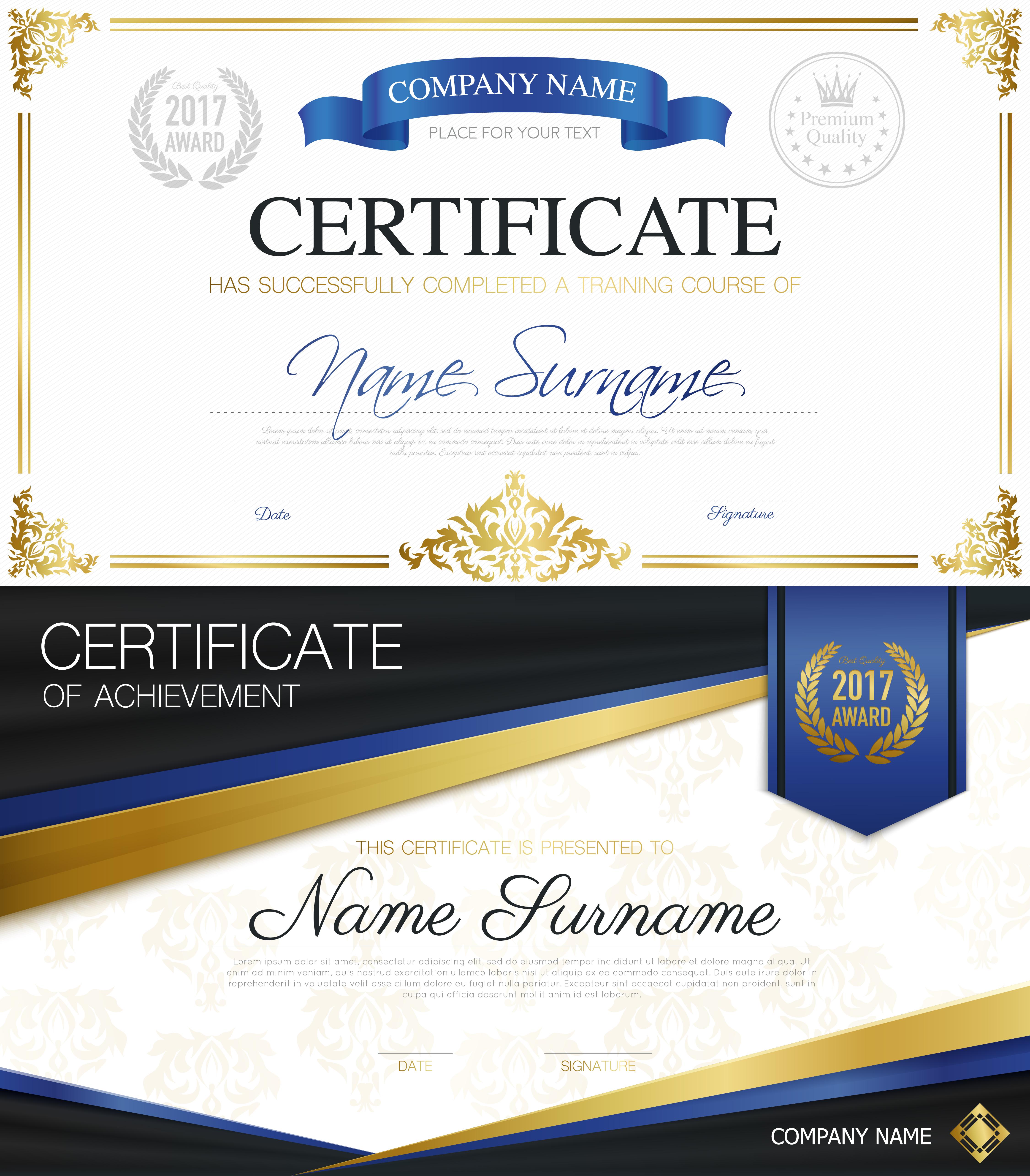 certificates certificate vector elegant classic diploma template illustration golden completion christmas gold stylish ribbon freepik vecteezy leaves tree poem rain