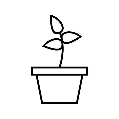 Línea de plantación icono negro vector