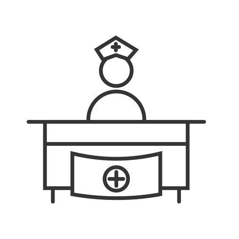 Linea di ricezione dell'ospedale Icona nera