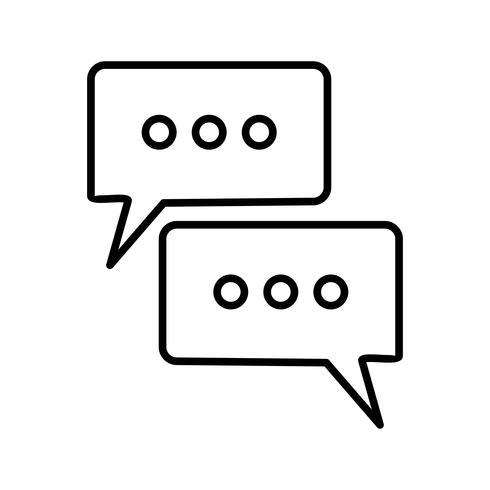 Icono de línea de conversación negro vector