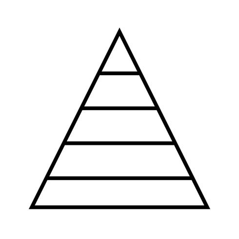 Pirámide gráfica de línea negra icono vector