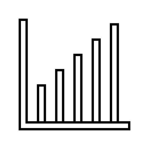 Gráfico de barras línea icono negro