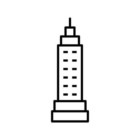 Icono de línea de torre negro vector