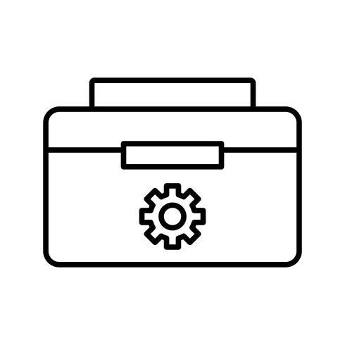caja de herramientas icono de línea negra vector