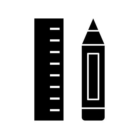 Icône de crayon et règle glyphe noir