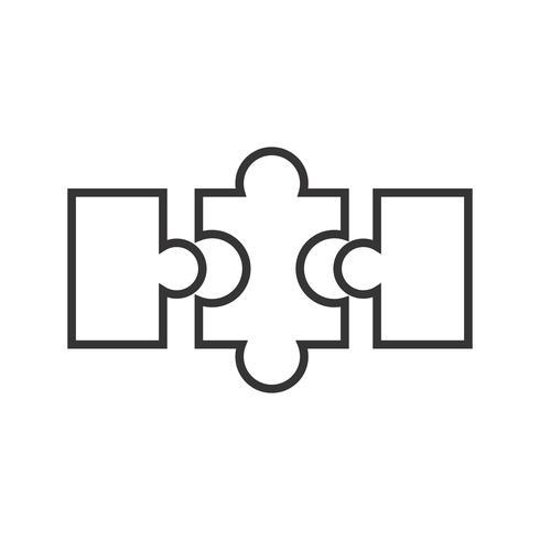 icono de línea de rompecabezas negro vector