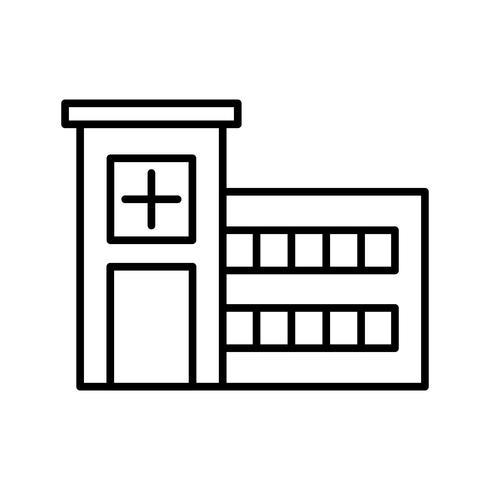 icono de linea de hospital negro