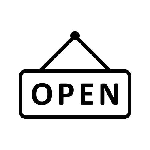Icono de línea abierta negro vector