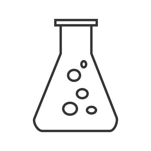 Tubo de ensayo línea icono negro vector