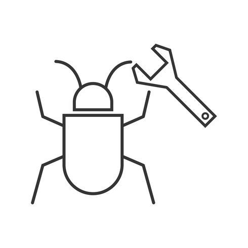 Corrección de errores Icono de línea negra vector
