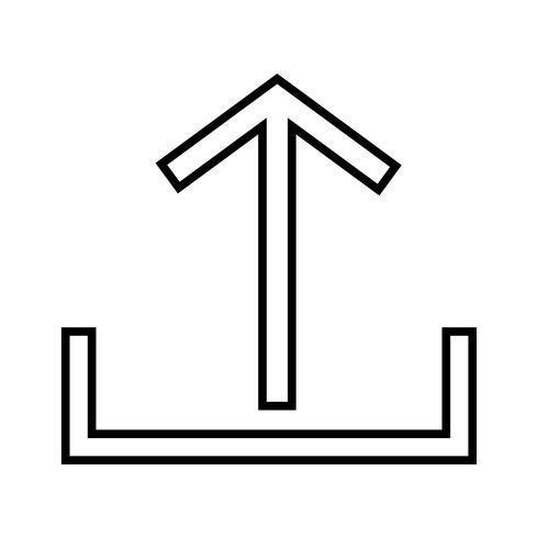 Subir línea icono negro