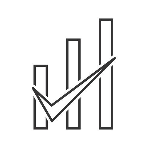 Gráfico de barras comprobado Línea Icono Negro