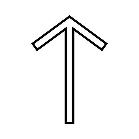 Icono de línea arriba negro vector