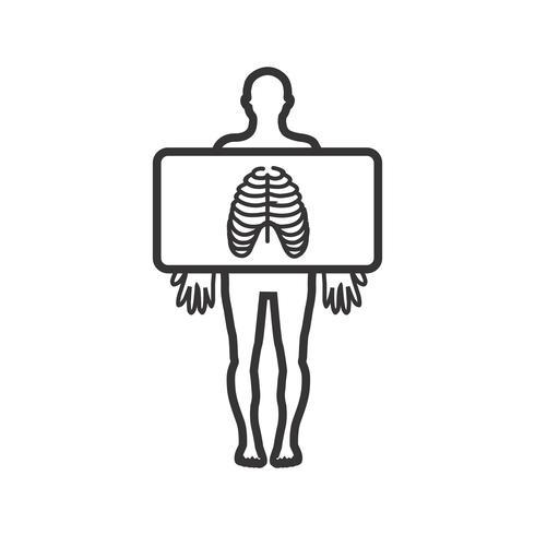 Icono de pecho línea de rayos X negro